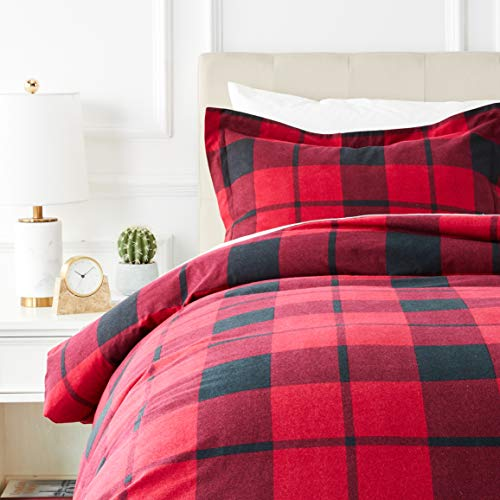 AmazonBasics Everyday Flannel Duvet Cover and 2 Pillow Sham Set - Twin or Twin XL, Red Plaid