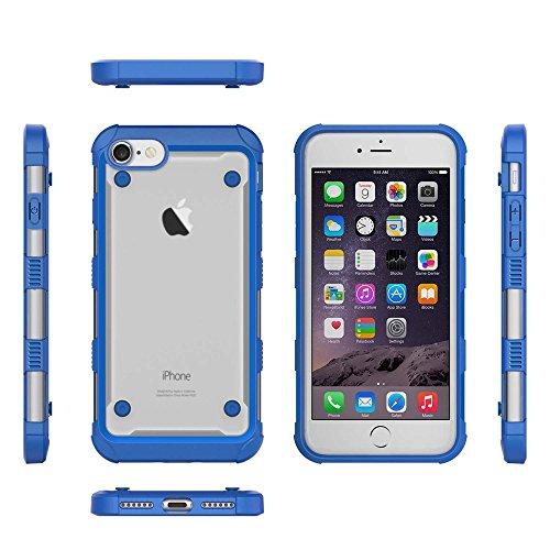 Skid-proof Drop-proof Flexible TPU Bumper with PC Back Panel Hybrid Tasche Hüllen Schutzhülle - Case für iPhone 7 - blau