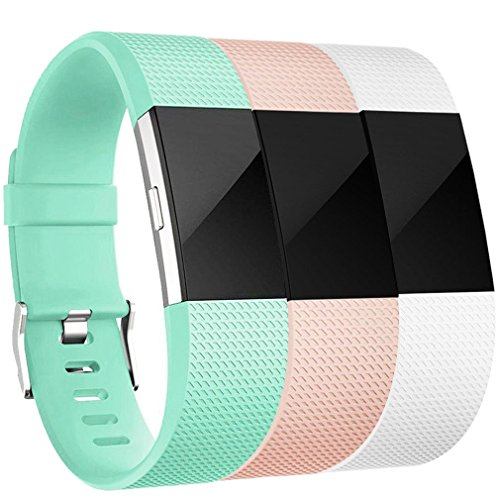 Amzpas Fitbit Charge 2 Bands, Small Large Adjustable Replacement Accessory Wristbands Bracelet for Women & Men (Teal+Blush Pink+White, Small)