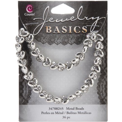 Cousin Jewelry Basics 36-Piece 9mm Metal Puffed Heart Bead, Silver (Heart Puffed Beads)