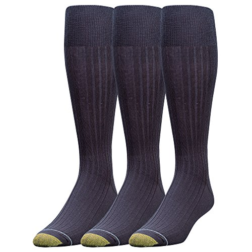 Gold Toe Men's Canterbury Over-the-Calf Dress Socks (Three-Pack),Navy,10-13 (Shoe Size 6-12.5) (Cotton Gold Socks Toe)