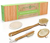 BEST DEAL Dry Brush Set for Dry Skin Brushing & Exfoliating - Premium Bamboo Bath & Shower Brush w/ 100% Boar Hair, Cellulite Massager, Foot Pumice Stone Brush by NUVA SPA