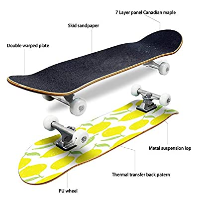 EFTOWEL Skateboards Hand Drawn Doodle Fruit Pattern backgrouns Wallpaper Fabric Colorful Classic Concave Skateboard Cool Stuff Teen Gifts Longboard Extreme Sports for Beginners and Professionals : Sports & Outdoors