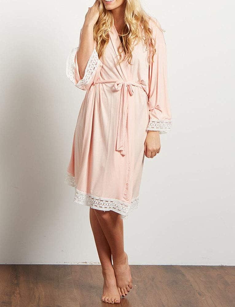 Womens Maternity Nursing Pajamas Robes Dressing Gown Cotton Soft Breastfeeding Pregnancy Sleepwear Short Style with Oblique V-Neck