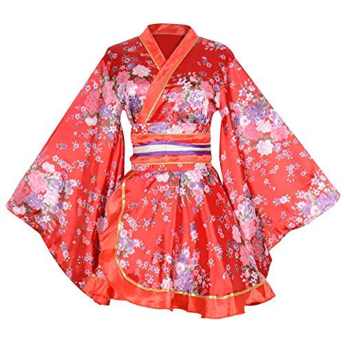- Kimono Bathrobe Costume Japanese Traditional Yukata Cosplay Women's Sexy Sakura Pattern (Red)