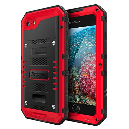 7 Plate Firefighter - Beasyjoy Metal Phone Case Compatible with iPhone 8/7, Heavy Duty Sturdy Durable Aluminum Cover with Built-in Screen Waterproof Full Body Protection,Shockproof DropProof Rugged Military Grade,Red