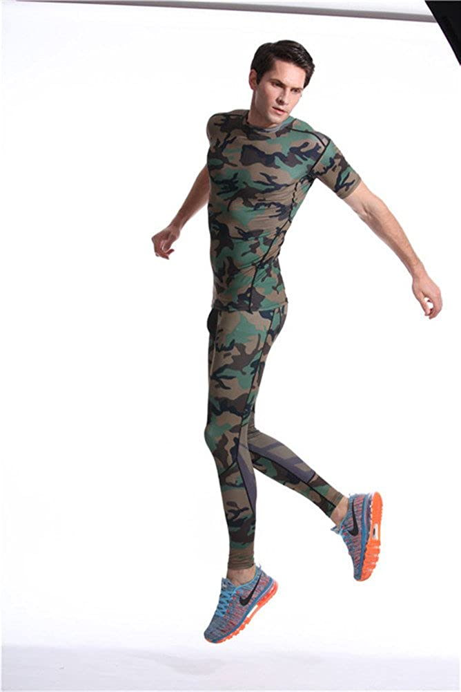 Mens Dri-fit Short Sleeve Camo Compression Gym Running Shirts Green