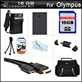16GB Accessories Kit For Olympus E-PL5 Interchangeable Lens Digital Camera Includes 16GB High Speed SD Memory Card + Extended Replacement (1400 maH) BLS-5 Battery + AC/DC Travel Charger + Mini HDMI Cable + USB 2.0 Reader + Case + Screen Protectors + More