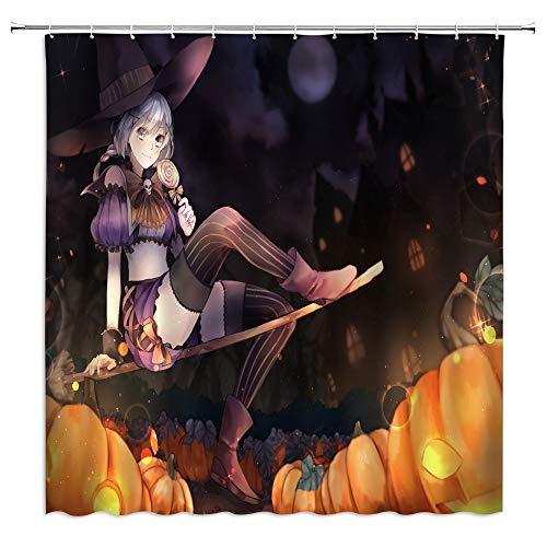 jingjiji Magic Witch Shower Curtain Halloween Pumpkin Fantasy Night Cartoon Retro Child Decor Bathroom Decoration Curtains Polyester Fabric Waterproof with Hook 70 X 70 Inch Black]()