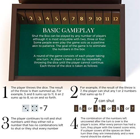 AGREATLIFE Juego de Mesa con Dados Shut The Box - Caja Vintage de Madera para 4 Jugadores - Divertido para Aprender el Cálculo Mental y Las Matemáticas - Juego de Pub Clásico