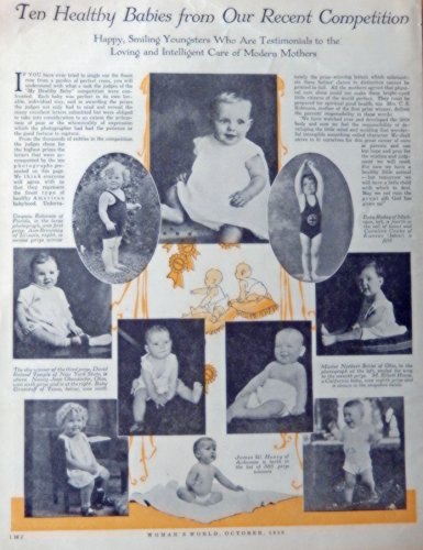 Babies from our recent competition, 1930 B&W Illustration, James W. Henry of Arkansas,Norbert schlei of Ohio, Virginia Robinson of Florida David Roland Temple of New York State..Original Vintage, Rare 1930 Woman's World Magazine Art - Roland Robinson