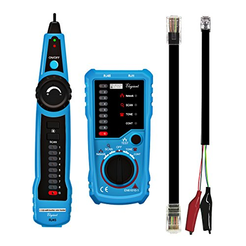 Wire Tracker, ELEGIANT RJ11 RJ45 Cable Tester Line Finder Multifunction Wire Tracer Toner Ethernet LAN Network Cable Tester for Network Cable Collation, Telephone Line Test, Continuity Checking