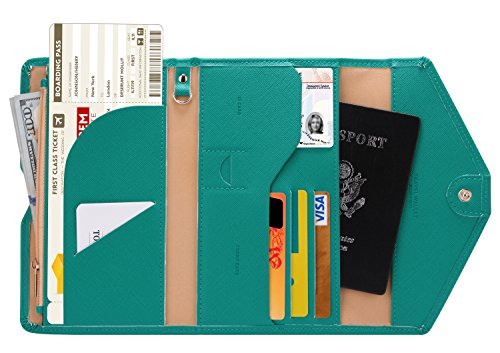 - Zoppen Mulit-purpose Rfid Blocking Travel Passport Wallet (Ver.4) Tri-fold Document Organizer Holder, Emerald Green