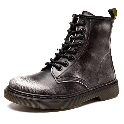 ukStore Damen Martin Stiefel Derby Wasserdicht Kurz Stiefeletten Winter Herren Worker Boots Profilsohle Schnürschuhe Schlupfstiefel Warm gefüttert/Grau