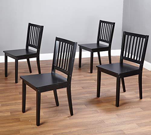 - The Mezzanine Shoppe 10018BLK4 Shaker Ultra Modern Slatted Back Dining Chair, 4 Pairs, Black