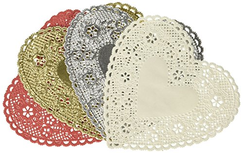 Mtlee Valentine Heart Doilies 4 Inch Heart Shaped Paper Doilies with 3 Colors, Red, Pink and White (300) by Mtlee
