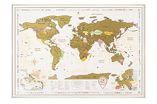 """NEW Framed World Map with Scratch off, Gold Edition! Golden Scratch. Large Size 26x36.2"""". Enlarged Europe and Caribbean Islands. Place for Your Sign. (Map in White-Golden Frame) by Discovery Map"""