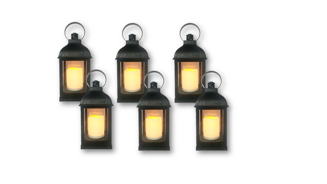"""""""Just In Time for Winter"""" {6pc Set} 10"""" Decorative Lanterns + L E D Lighted Candle w/ Flickering + 5 Hr Timer Antique Looking for Indoor Ambient Home, Outdoor Patio or Party Lights, Weddings"""