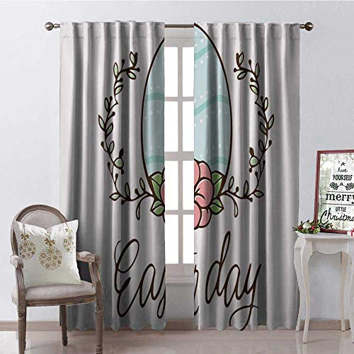 Hengshu Happy Easter Day Easter Egg Multicolor Room Darkening Wide Curtains Waterproof Window Curtain W108 x L84