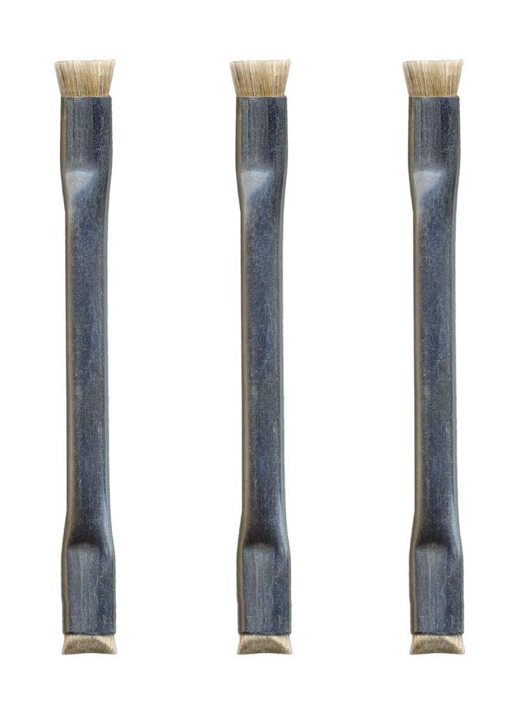 MG Chemicals 856 Double Ended Technical Cleaning Brush with 4-1/2' cad Plated Steel Handle, Horse Hair Bristles, 1/4' Length x 5/16' Width