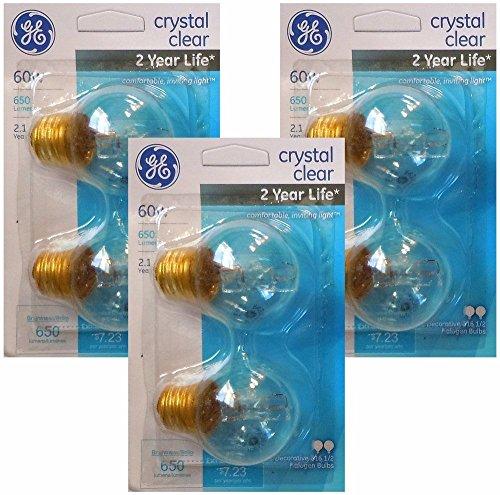 (GE 60 Watt Decorative G16.5 Halogen Light Bulbs with Medium Base, Crystal Clear (6 Pack))