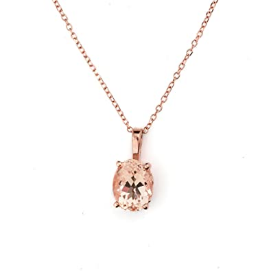 pear morganite solid rose genuine gold carat fine with pendant shaped jewelry necklace