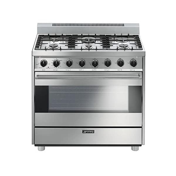 "Smeg C36GGXU 36"" Free Standing Gas Range with 6 Gas Burners and 3 Cooking Modes, Stainless Steel 1"