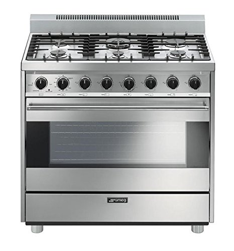 Smeg C36GGXU 36″ Free Standing Gas Range with 6 Gas Burners and 3 Cooking Modes, Stainless Steel