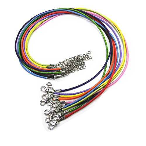"Price comparison product image Glory Qin 17"" Mixed Colors Leather Necklace Cord Chain 1.5mm 2"" Extension Chain (25 pcs)"