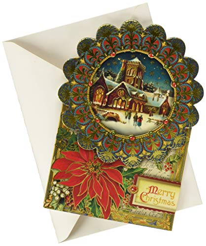 Punch Studio Cathedral Design Blue Frame Dimensional Holiday Greeting Card - Set of 12 (50346) (Cards Punch Christmas)