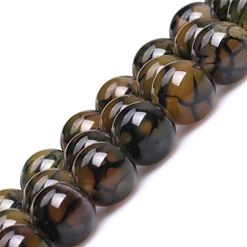 JOE FOREMAN 14mm Crackle Dragon Vein Agate Semi Precious Gemstone Round Yellow Green Loose Beads for Jewelry Making DIY Handmade Craft Supplies 15