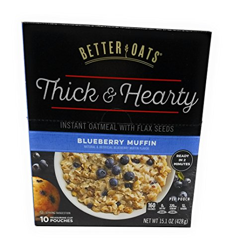 Better Oats, mmmMuffins Old Fashion Instant Oatmeal, Blueberry Flavor, 10 Pouches per Box (Pack of 2)