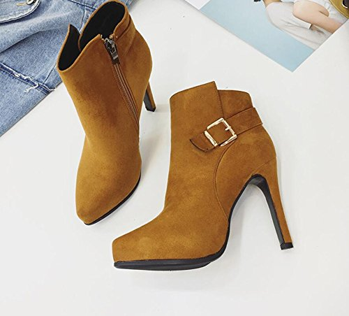 Waterproof 10Cm Boots Side High New With Belt Brown Shoes Boots Clip Winter KHSKX Short Heel Zip Female 38 Tip Single And Slim wxU8O5xqa