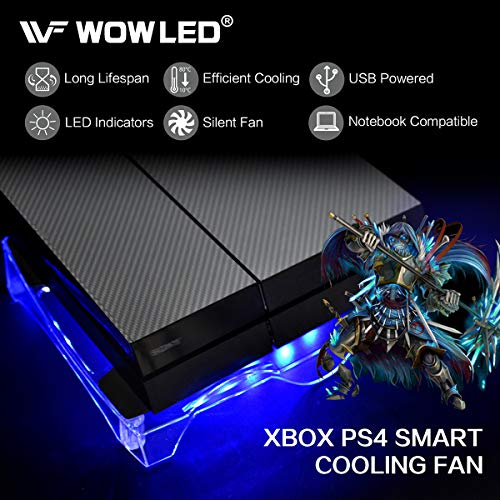 WOWLED Upgrade Sturdy LED Cooling Cooler Fan 3-Key Mini Controller PS4 Accessories Pro Cooling Fan, Xbox One X 360 Playstation 4 Sony Game Console PC, All-in-One USB RGB LED Fan Pad Stand Coolers by WOWLED (Image #3)'