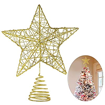Christmas Star Tree Topper - Glittered Metal Hallow Tree Star Unique Design- 8 Inches (Base Not Included) Fit for General Size Christmas Tree