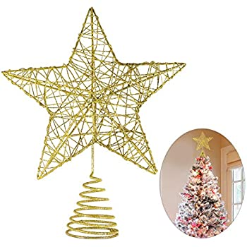 Amazon Com Unomor Christmas Star Tree Toppers Gold Glittered