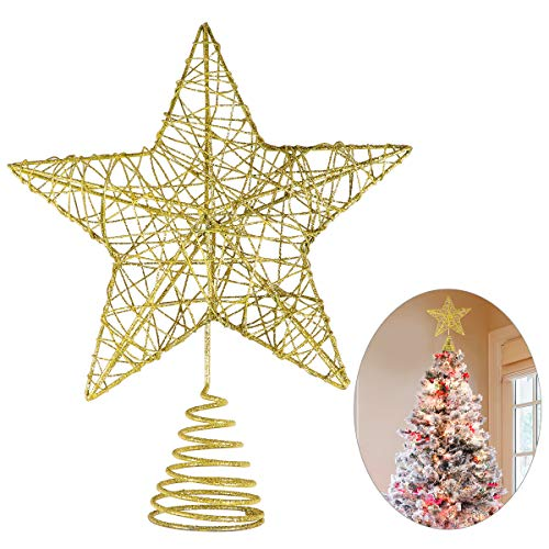 Unomor Christmas Star Tree Toppers - Gold Glittered Metal Hallow Design, 10