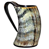 Viking Drinking Horn Cup Tankard Handcrafted Ox Cup Goblet - Drink Mead & Beer Like Game of Thrones Heroes With This Large Ale Stein A Perfect Present For Real Men (20oz)