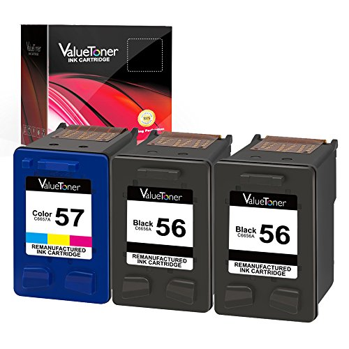 450 Page Yield Tri Color - Valuetoner 3 Pack Remanufactured Ink Cartridges for HP 56 & 57 CD944FN C6656AN C6657AN, (2 Black, 1 Tri-Color) for HP Deskjet 5850 5650 5150, Photosmart 7150 7260 7350 7960, PSC 2510 Printer