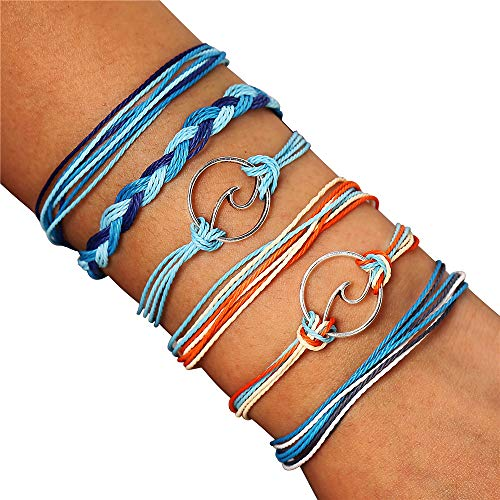 Handmade Kids - FINETOO Wave Rope Bracelet Set Handmade Woven Waterproof Wax String Bracelet for Women Kids