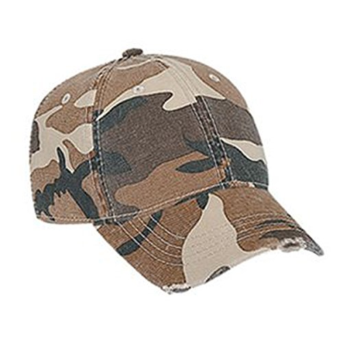 Otto Caps Youth Camouflage Superior Garment Washed Cotton Twill Distressed Visor Low Profile Pro Style (Camo Garment)