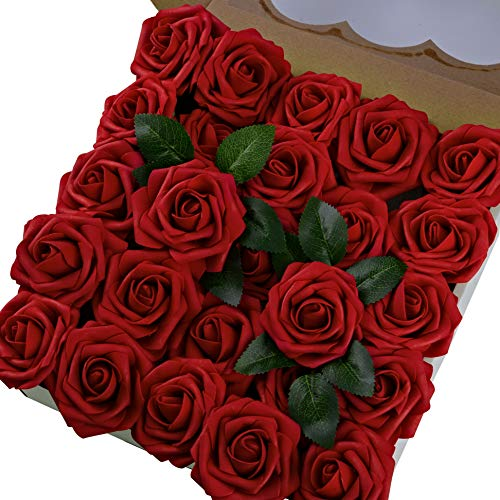 Breeze Talk Artificial Flowers Dark Red Roses 50pcs Realistic Fake Roses w/Stem for DIY Wedding Bouquets Centerpieces Arrangements Party Baby Shower Home Decorations (50pcs Dark -
