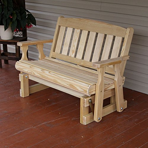 Amish Heavy Duty 800 Lb Mission Pressure Treated Porch Glider (5 Foot, Unfinished) (Porch Glider)