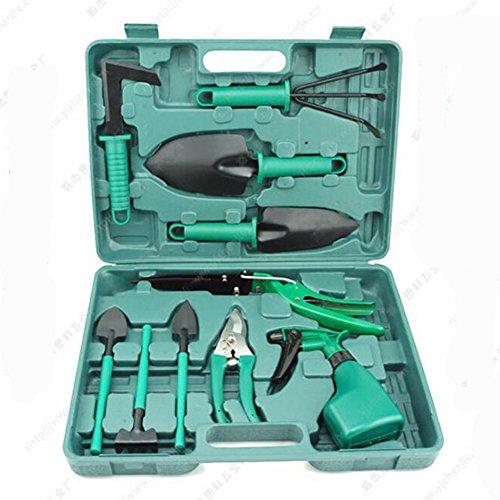 HomeYoo 10 Pieces Garden Tools Set, Gardening Tools Gift Kit Non-Slip Handle Anti-Rust Trowel Pruner Rake Shovel Grass Shear, Water Sprayer Case, Garden Gifts Men & Women (Green) by HomeYoo