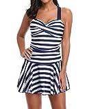 Tomlyws Women's Swimdress Tummy Control Stripes Ruched Beach Swimwear Criss Cross Back One Piece Swimsuits Blue for Womens XXL