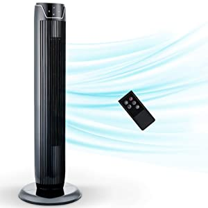 Tower Fan, Oscillating Fan with Quiet Cooling 3 Wing Mode, 3 Speed ​​and Remote Control, up to 7h Timer, LED Display, Low Noise Whole Room Floor Fan, 36 -Inch, Black