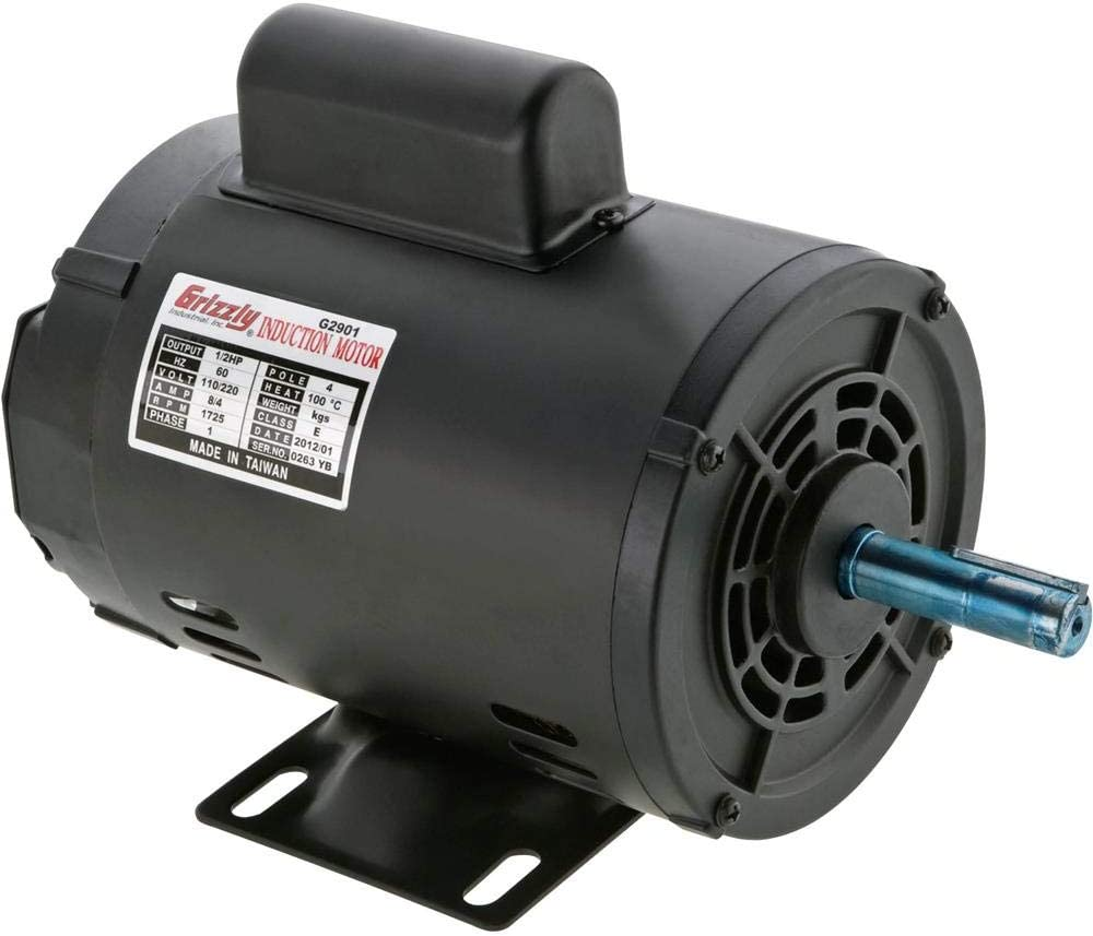 Grizzly Industrial G2901 - Motor 1/2 HP Single-Phase 1725 RPM Open 110V/220V - Power Milling Machine Accessories -