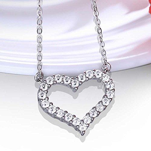 Silver heart pendant necklace women silver necklace jewellery 925 fashion women 925 sterling silver amethyst purple heart crystal pendant necklace aloadofball Gallery