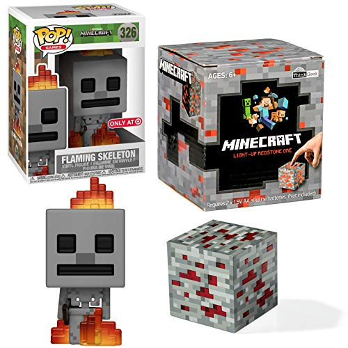 Funko Block Red Stone Light up Cube Minecraft Skeleton On Fire Pop! Exclusive Vinyl Figure Bundle 2 Item Adventure Game Gear Pack