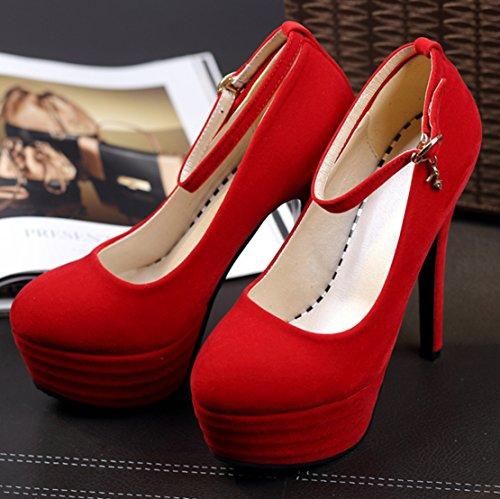 AIYOUMEI Damen Wildleder Knöchelriemchen Geschlossen High Heel Plateau Pumps mit Schnalle Stilettos Abend Schuhe Rot